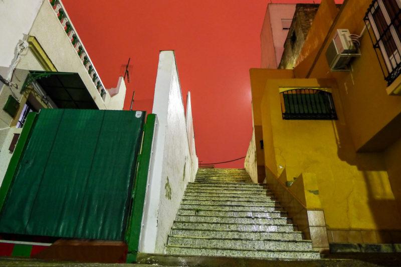Andalucia i Spania, Jerz tidlig morgen, rød himmel